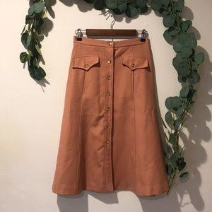 VINTAGE ELLEN TRACY peach midi A-line skirt